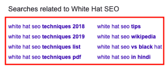 Google's searches related to white hat SEO.