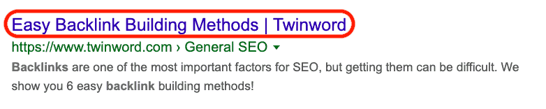 Twinword backlink building method post on SERP, showing the title tag that includes the keyword 'backlink building'.
