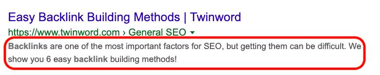 Meta description of Twinword's blog post.