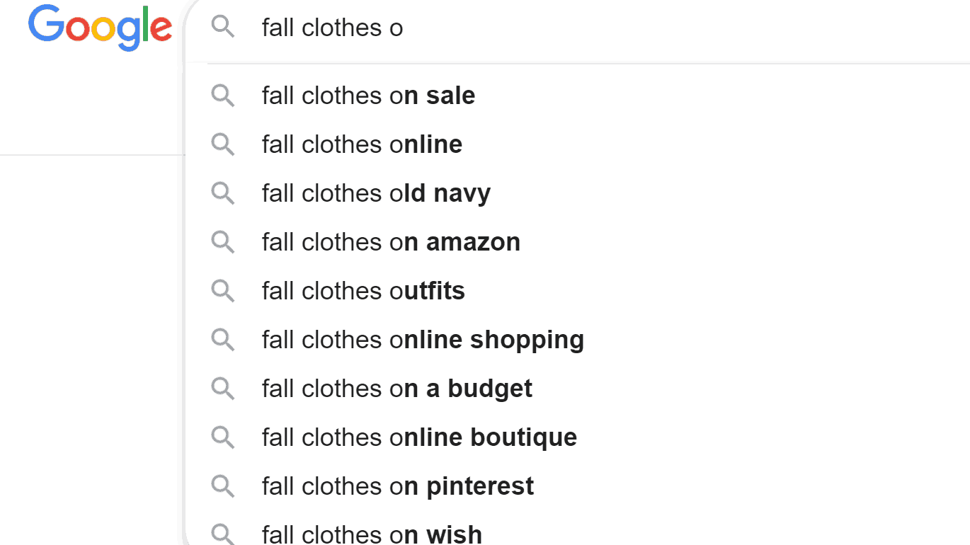 Finding long tail keywords for fall clothes