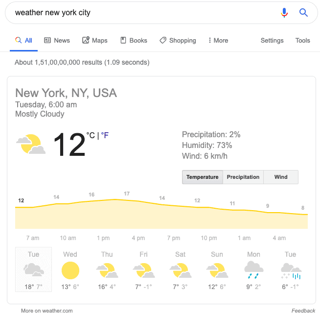 Weather search query
