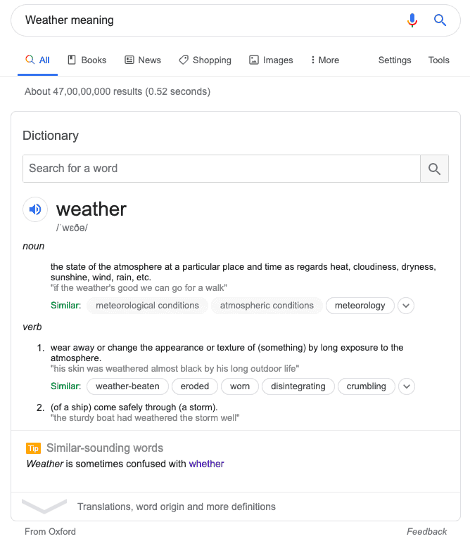 Definition of weather on SERP