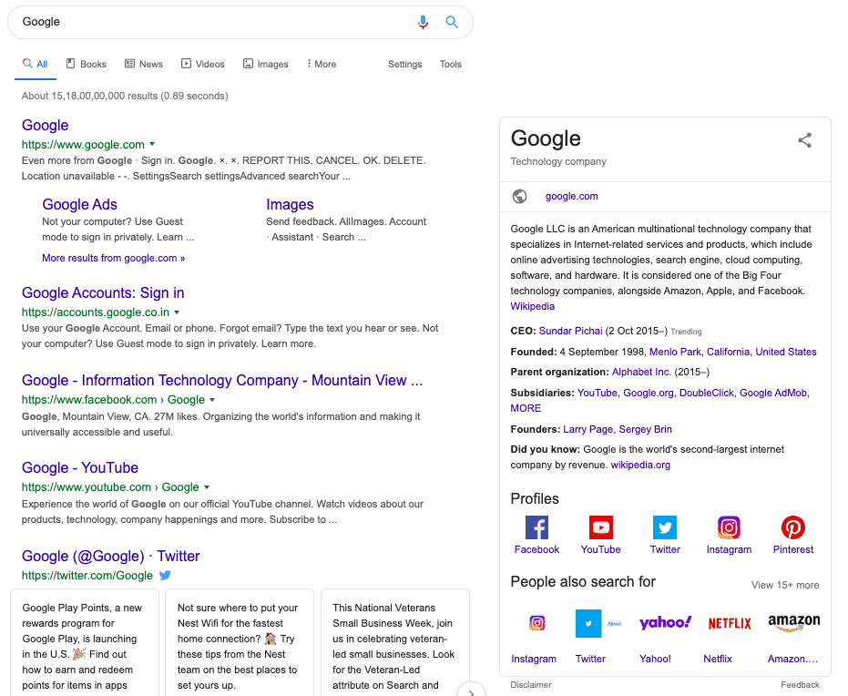 Knowledge graph on Google