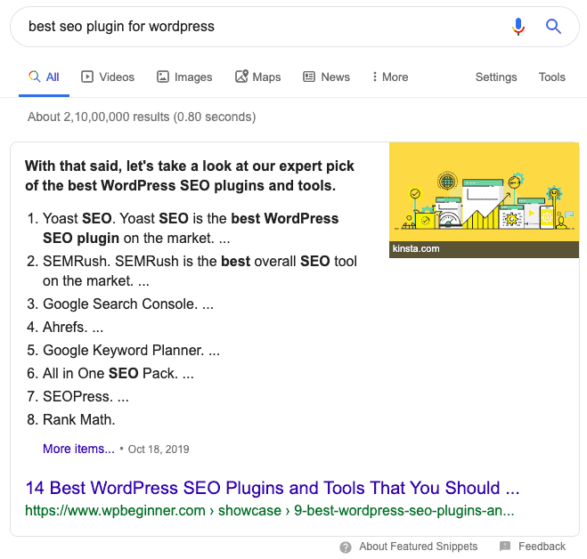 Double-featured snippet