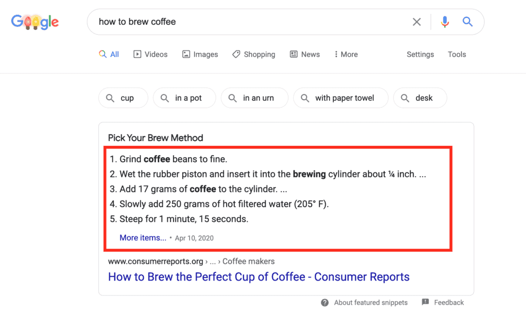 numbered list featured snippet appears with the query