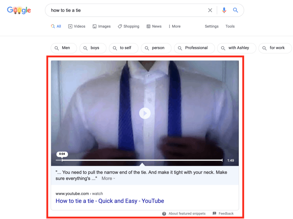 a video featured snippet appeared with the query