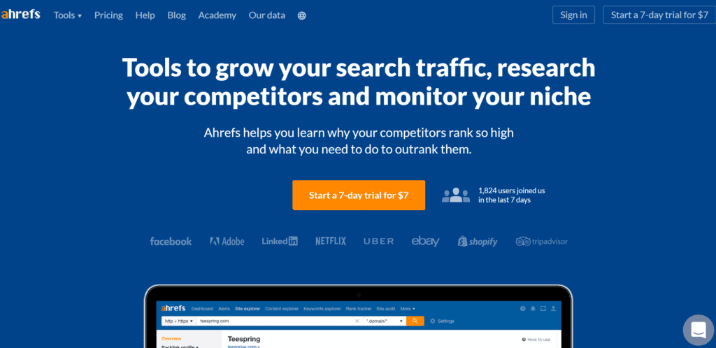 Ahrefs keyword explorer homepage