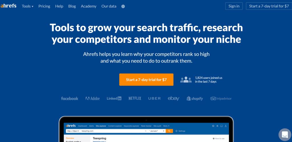 Ahrefs keyword explorer homepage