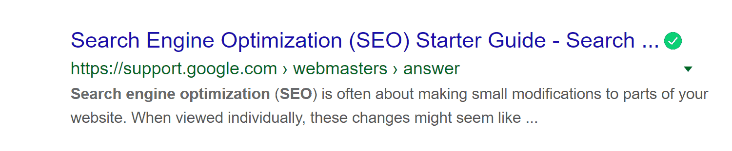 meta description Google SEO starter guide