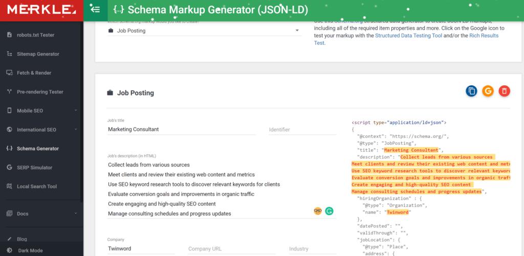 Merkle schema markup generator