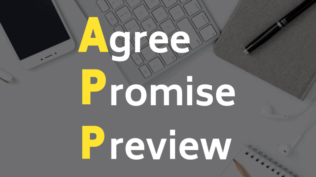 APP Method: Agree, Promise, Preview, for the introduction of your storytelling marketing.