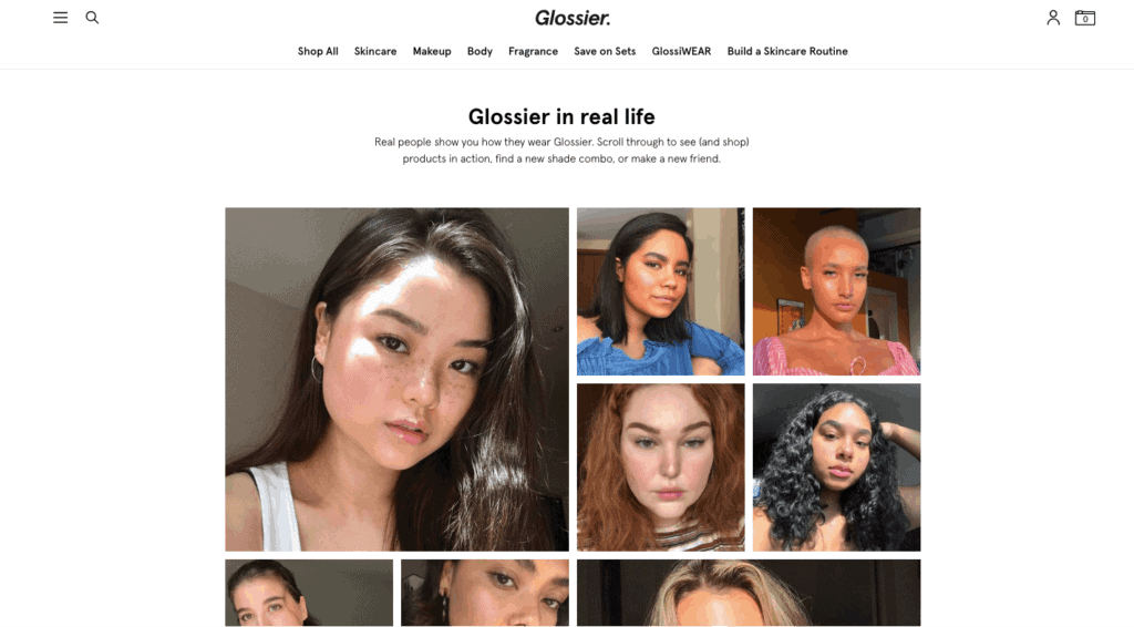 Glossier customer testimonials to increase customer satisfaction.