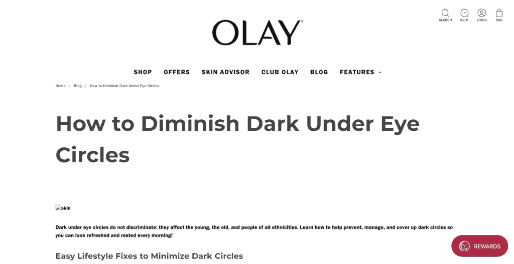 Olay content marketing improving SEO and user-experience.