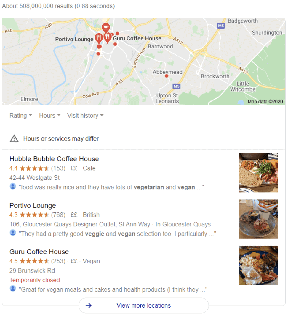 A map showing the location of coffee houses in the United Kingdom for local user intent.