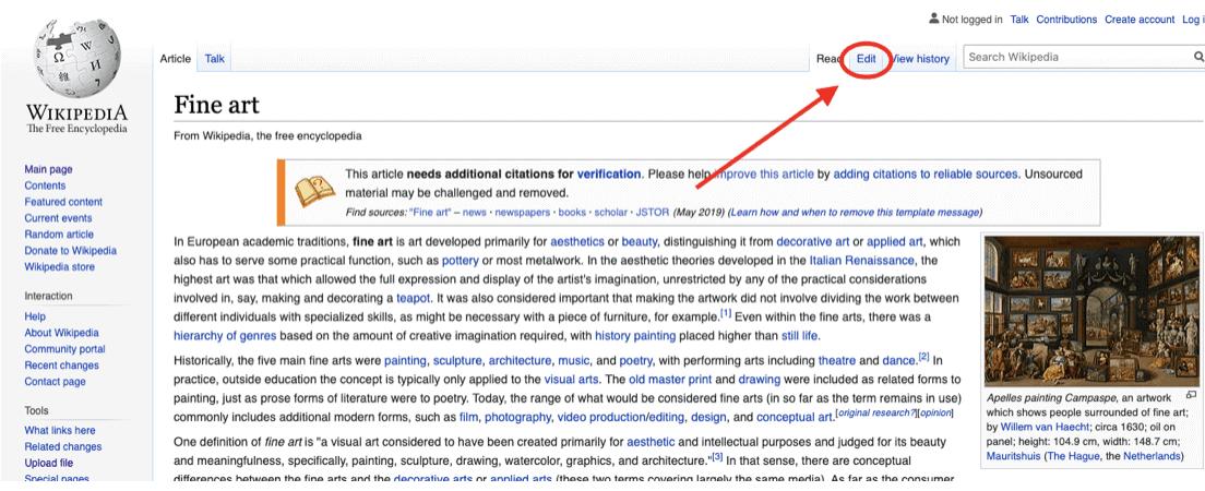 Wikipedia Fine Art Edit