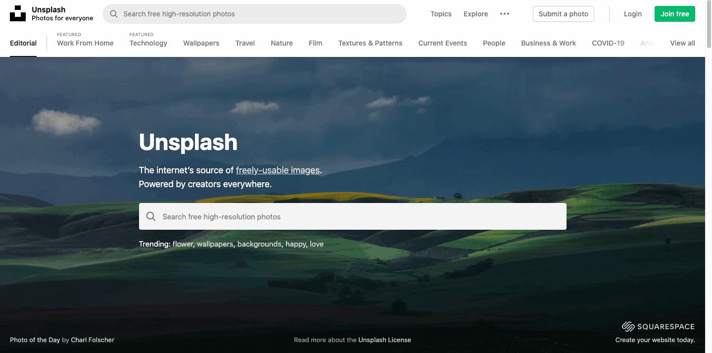 Website of Unsplash