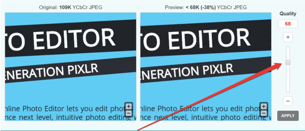 photo compression adjusting function provided by Optimizilla