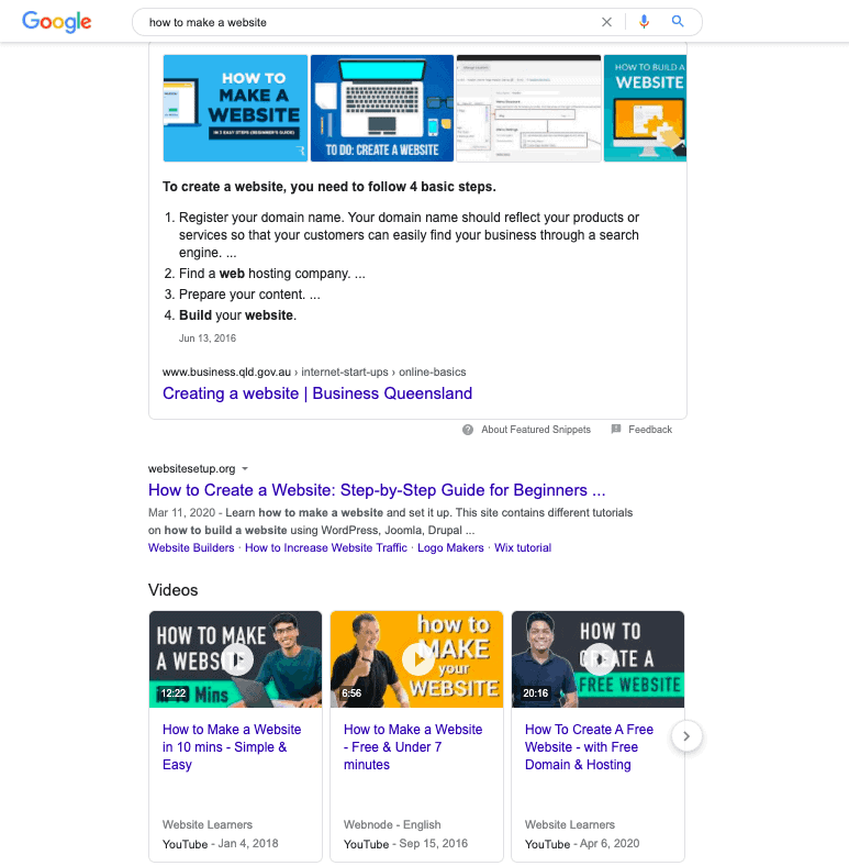 "search result page of the query ""how to make a website"""