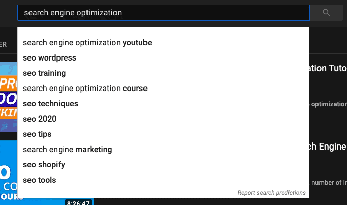 utilizing YouTube's search bar to get opportunity keyword ideas