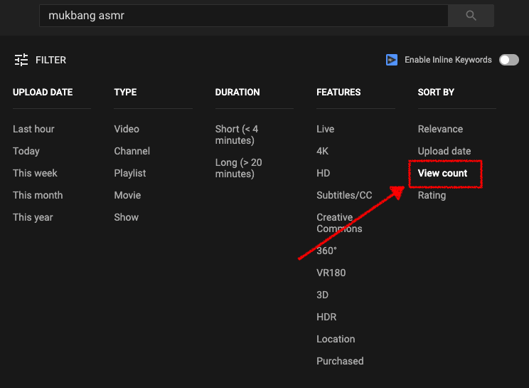 sorting YouTube videos by view count to do keyword research