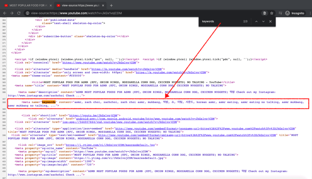 investigating video tags using view source function