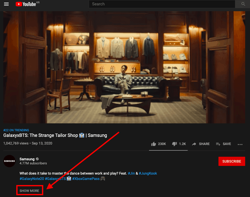 """Youtube only showing first few lines of video description and for the users to see more, need to click """"show more"""" button"""