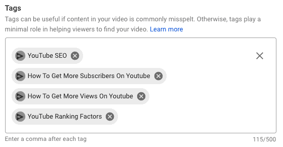 Optimizing YouTube video tags with relevant keywords