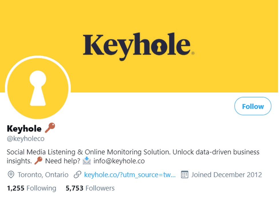 A screenshot of Keyhole's Twitter account which is well optimized for social media SEO