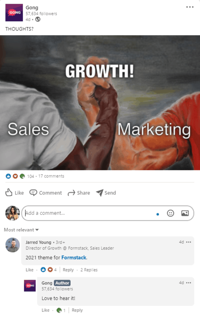 A screenshot of Gong's LinkedIn post that is aimed to drive engagement of customers