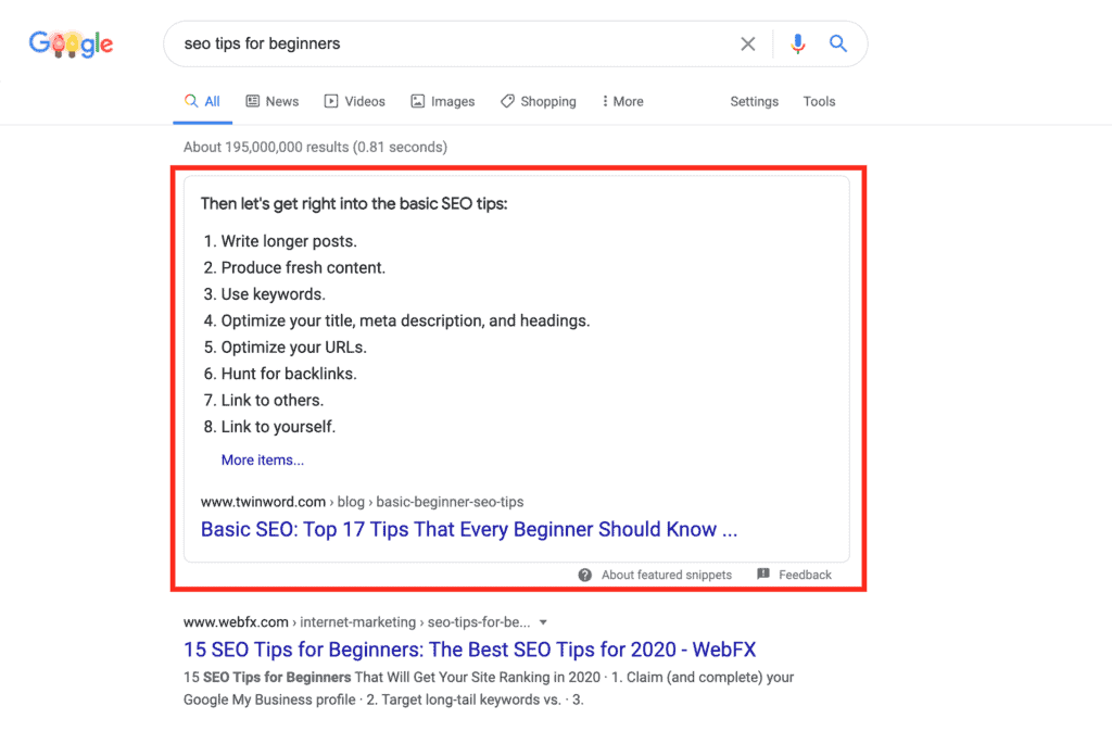 an example of Twinword's featured snippet on SERP