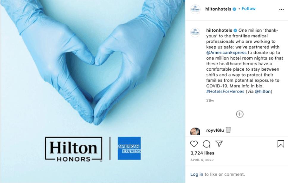 Hilton's socially conscious instagram post