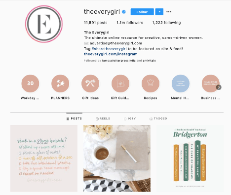 The brand Everygirl uses hashtags to collect user-generated content on Instagram